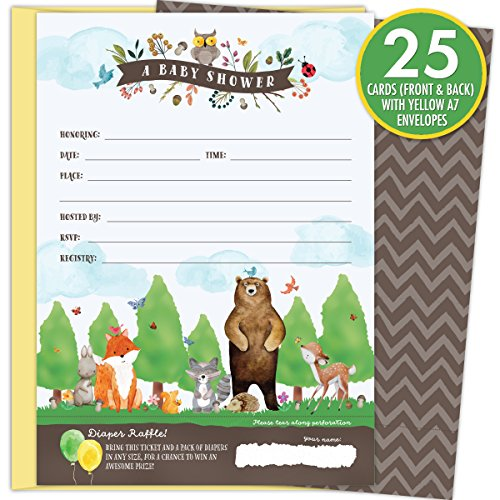 Shower Invitation Ladybug Baby (KokoPaperCo 2 in 1 Woodland Baby Shower Invitations and Tear-off Diaper Raffle Tickets. Gender Neutral Design with Woodland Animals. 25 5x7 Fill in the Blank Invites with Yellow A7 Envelopes.)