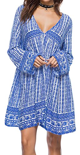 Blue Fitted V Print Neck Pleated Deep Cromoncent Dress Womens Sleeve Long Bobo TqP7a0