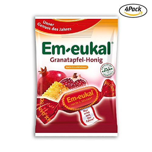 EmEukal Pomegranate Honey throat cough lozenges 75g 4Pack 68Drops with vitamin - 75 Honey Lozenges