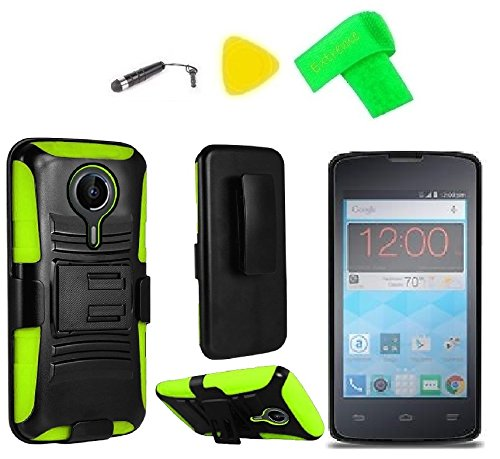 Holster Belt Clip + Hybrid Cover Phone Case + Screen Protector + Extreme Band + Stylus Pen + Pry Tool for ZTE Quest N817 Virgin Assurance QLink N-817 Legacy (Holster Black/Green)