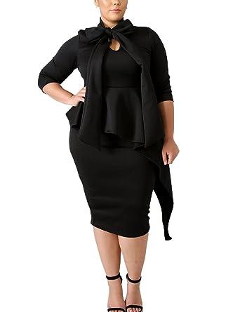 XAKALAKA Women\'s 3/4 Sleeve Plus Size Business Bodycon Pencil Dress with  Tie Neck