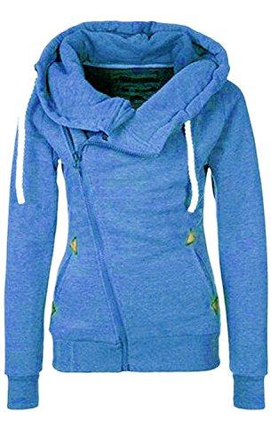 Damen Hoodies Pullover Langarm Casual Jacke Top Winter Sweatshirt Pullover Tops Jumper (M, Blau)