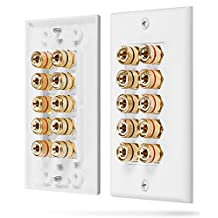 Fosmon [Five Speaker] Home Theater Wall Plate - Premium Quality Gold Plated Copper Banana Binding Post Coupler Type Wall Plate for 5 Speakers (White)