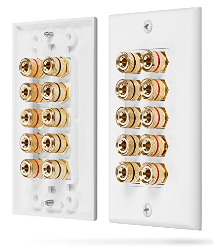 (Fosmon [Five Speaker] Home Theater Wall Plate - Premium Quality Gold Plated Copper Banana Binding Post Coupler Type Wall Plate for 5 Speakers (White))