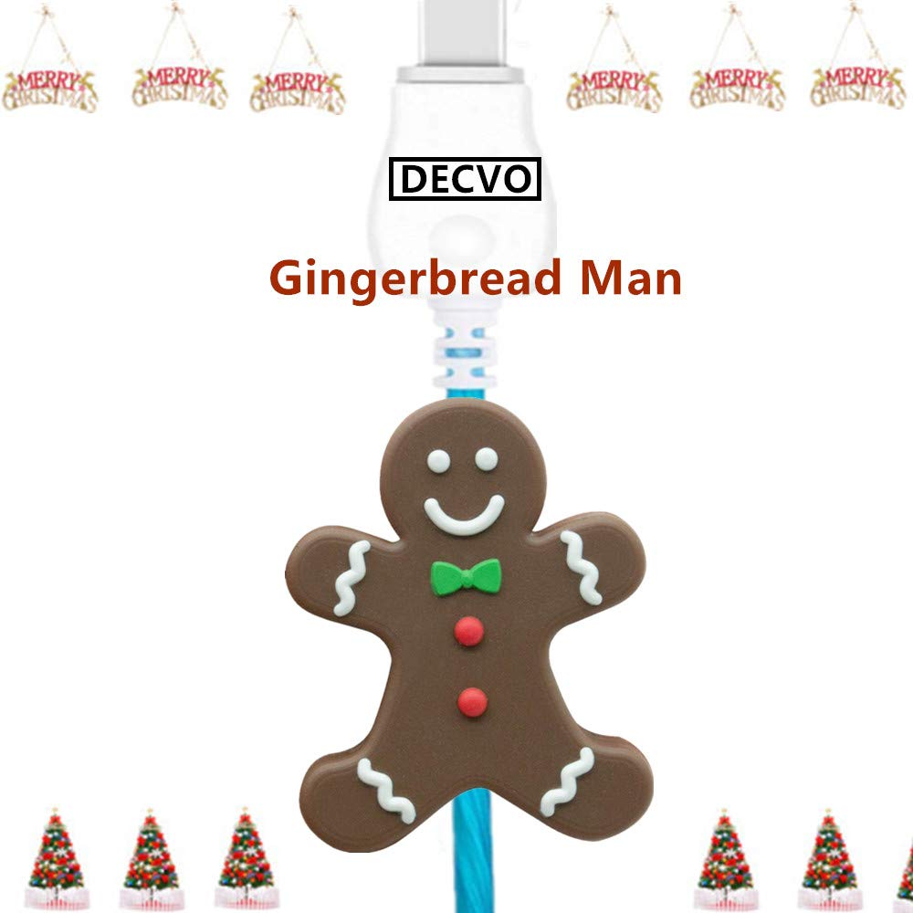DECVO Cable Protector Compatible iPhone iPad Android Sumsung Galaxy Cable PVC Christmas Cute Accessory USB Charger Data Protection Cover Chewers Earphone Cord Bite & 1 PC USB C LED Cable (Gingerbread)