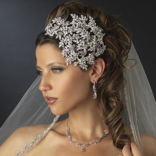 Gemma Vintage Couture Leaves Side Accented Crystal Faceframer Wedding Bridal Tiara Headband