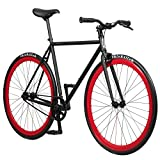 Pure Fix Original Fixed Gear Single Speed Bicycle, Echo Black/Red, 54cm/Medium
