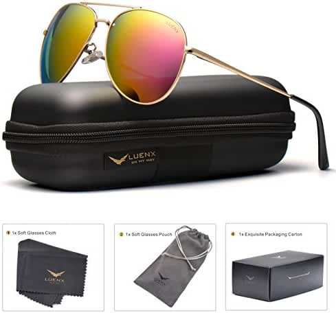 LUENX Aviator Sunglasses For Men Women Polarized with Case - UV 400 Protection 60mm