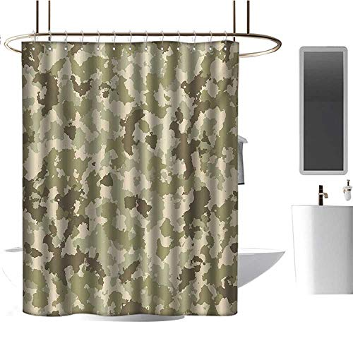 Shower Curtain Camo,Old Fashioned Camouflage Pattern Classical Jungle Survival Theme,Army Green Pale Green Cream,Non-Toxic,No Chemical Odor,Eco-Friendly,for Bathroom Curtain 54