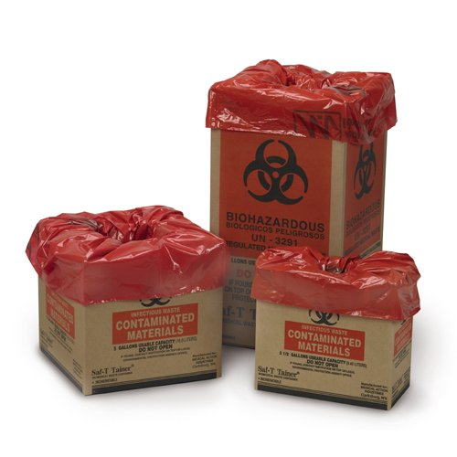 Medegen Medical Products 10-2005 Red/Black Biomedical Waste Containers, Corrugated Box with Liner, Flat Pack, 12'' x 12'' x 12'' Size, Gauge, 5 gal Capacity (Pack of 25) by Medegen Medical Products