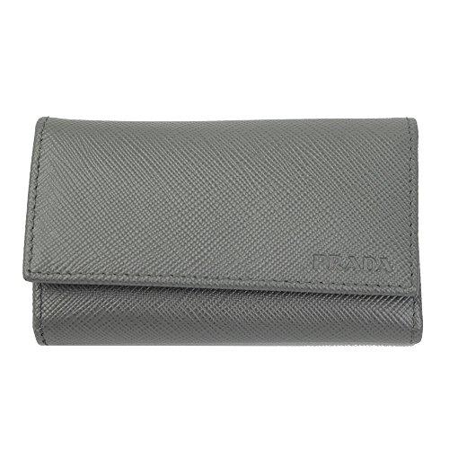 Prada Gray Saffiano Leather Key Case 1pg222 Mercurio by Prada