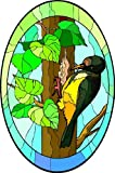 Woodpecker Bird in a Tree - Etched Vinyl Stained Glass Film, Static Cling Window Decal