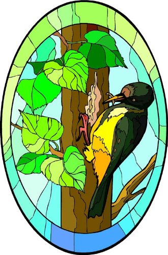Woodpecker Bird in a Tree - Etched Vinyl Stained Glass Film, Static Cling Window Decal by Window Art in Vinyl Etchings (Image #1)