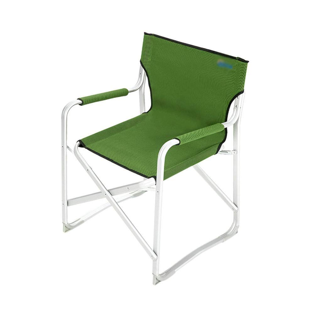 Outdoor Folding Chair with Backrest with Armrests Aluminum Alloy Lightweight Portable Multi-Purpose Camping Picnic Travel Fishing Mountaineering Barbecue Outdoor Red/Green (Color : Green)