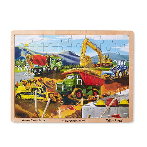 Melissa & Doug Construction Vehicles Building Site Wooden Jigsaw Puzzle (Beautiful Original Artwork, 48 Pieces, Great Gift for Girls and Boys - 3, 4, and 5 Year Olds)