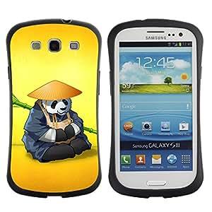 Fuerte Suave TPU GEL Caso Carcasa de Protección Funda para Samsung Galaxy S3 I9300 / Business Style The Panda Warrior Meditating