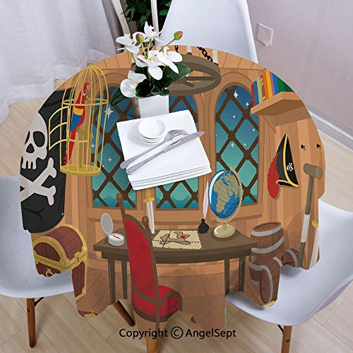 AngelSept Polyester Round Tablecloth,Cabin of a Pirate Captain Parrot in Cage Jolly Roger Treasure Chest Liquor Barrels,63