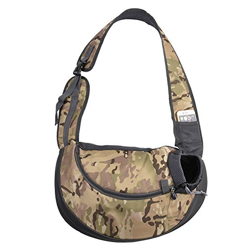 Pet Dog Sling Carrier Waterproof Adjustable Dogs Outdoor Hands-free Shoulder Bag Travelling Carrier for Small Dogs Cats Green Camouflage (Carrier Camouflage Dog)