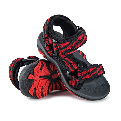Weestep Toddler Little Kid Boys Girls Adjustable Strap Sandal (12 M US Little Kid, Black/Red)