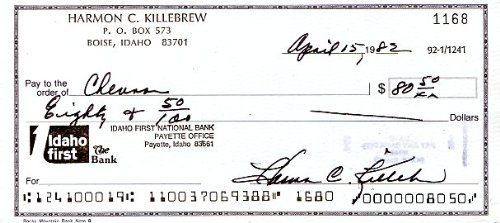 Harmon Killebrew (D. HOF) Original Signed Personal Check Dated 1982 Bold Signature Name and Address Printed at Top of Check Minnesota Twins Great Hall of Famer