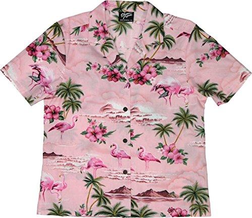 RJC Women's Flamingo Paradise Hawaiian Camp Shirt Pink Small (Pink Hawaiian Shirt)