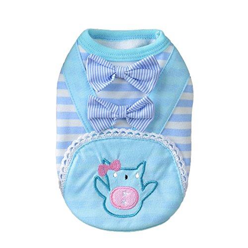 DEESEE(TM) Pet Hot Dogs Double Bow Sling Cotton Jumpsuit Pet Puppy Soft Cotton Clothes (L, Blue)