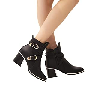 Mostrin Fashion Women's Buckle Pointed-Toe Bootie Casual Zipper Chunky Heel Ankle Boots