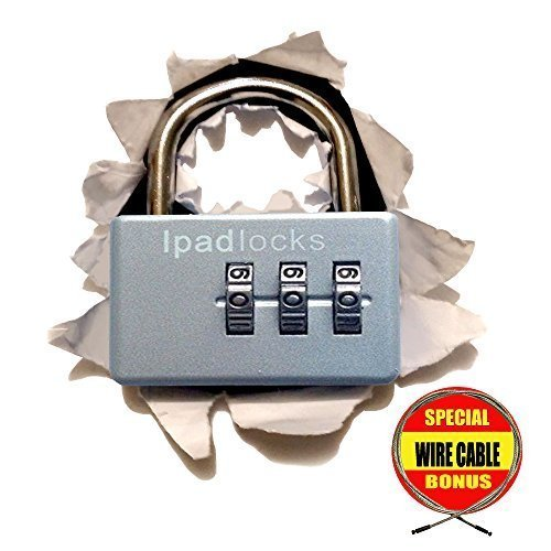 Ipadlocks - Small Resettable Combination Padlock With Bonus Wire Cable by Ipadlocks