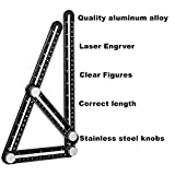 Angleizer Template Tool-Premium Aluminum Alloy Universal Adjustable Multi-Angle Measuring Angle-ize Ruler Ultimate Any Angle Full Metal Tool with Perfect Thickness for DIY Carpenters Craftsmen-Black