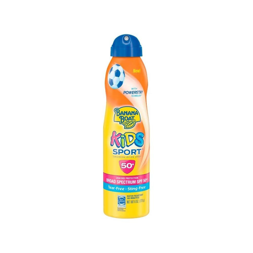 Banana Boat Kids Sport Tear-Free, Sting-Free Broad Spectrum Sunscreen Lotion Spray SPF 50+ 6oz (3Pack) by Banana Boat