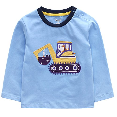 - Frogwill Toddler Boys Excavator Long Short Sleeve Cartoon T Shirt Size 2-7 Years (4T, Light Blue)
