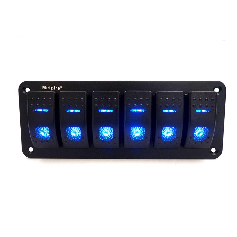 24/V DC LED On//Off Interrupteur /à bascule Panneau Convient pour voiture RV Marine Bateau Meipire 6/Gang 12