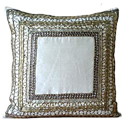 Antique Bordered 3D Sequins Pillows Cover