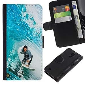 YiPhone /// Tirón de la caja Cartera de cuero con ranuras para tarjetas - Big Blue Wave Surfer - Samsung Galaxy S4 IV I9500