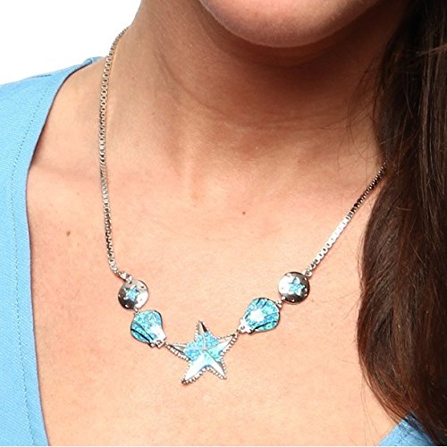 Sterling Silver 18 Created Blue Opal Nautical Necklace