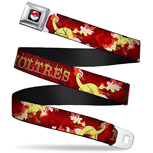 Buckle-Down Seatbelt Belt - MOLTRES 3-Fire Flying Poses/Flames Reds/Yellows - 1.5