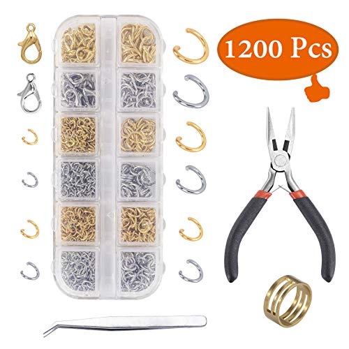 (YUGDRUZY 1200Pcs Jump Rings and Lobster Clasps Jewelry Making Kit with Pliers Jewelry Making Supplies Kit Jewelry Making Supplies Findings for Jewelry Repair for Adults (Silver, Gold))