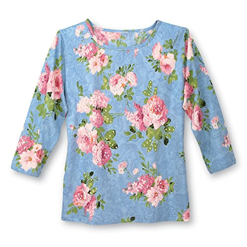 Sequined 3/4 Sleeve Top (Collections Etc Women's Sequined Pink Roses Printed Top, Blue, Large)