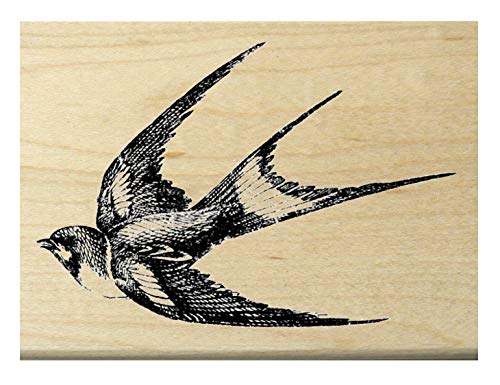 (Swallow Bird Rubber stamp flying left P22)