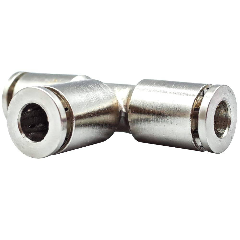 Tailonz Pneumatic 1//4 Inch OD Nickel-Plated Brass PE-1//4 Push to Connect Air Fittings Tee Straight Union Connect (Pack of 5)