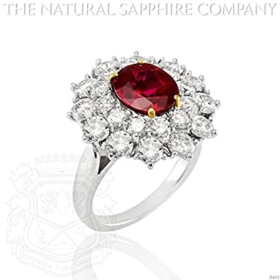 d50dec15b02fc Amazon.com: 2.83ct Natural Oval Ruby Set in a 18kwy Princess Diana ...