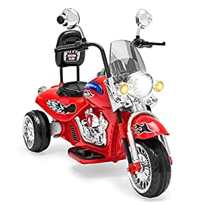 Best Choice Products 12V Kids Ride-On Motorcycle Chopper w/ Built-In Music, MP3 Plug-In (Red)