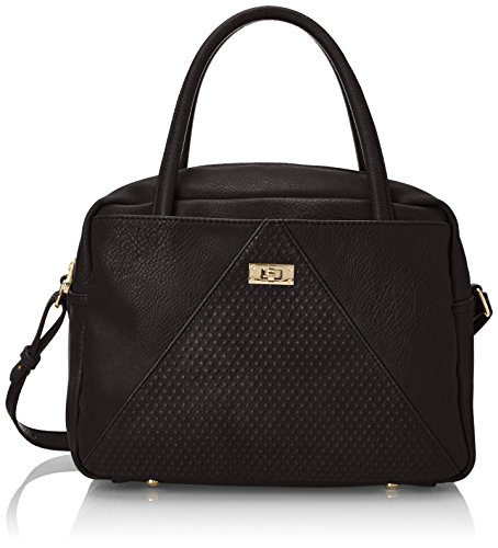 POVERTY FLATS by rian Raised Dot V Satchel Top Handle Bag, Black, One Size (Poverty Flats)