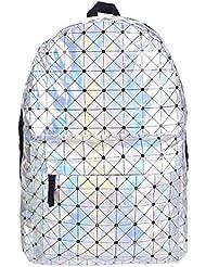 Pulama Water Proof PU Leather Backpack Vintage School Bag Holoram Grid