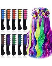 EBANKU Grzebień do włosów z pokrywką, 10 tymczasowych farb do włosów, maskara do włosów do kolorowych akcentów, farba do włosów w rękawiczkach i pelerynie, farby do włosów na imprezy, Boże Narodzenie, Cosplay, festiwale, teatry
