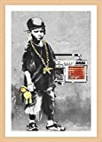 Alonline Art - Boy with Dance Mat Banksy Beech Framed Poster (Print on 100% Cotton Canvas on Foam Board) - Ready to Hang | 19''x27'' | Frame Framed Artwork Oil Painting Print Framed Posters