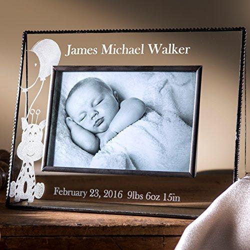 J Devlin Pic 319-46H EP556 Personalized Baby Boy Keepsake Frame 4x6 Horizontal Engraved Glass Picture Frame Nursery Decor (Engraved Four)