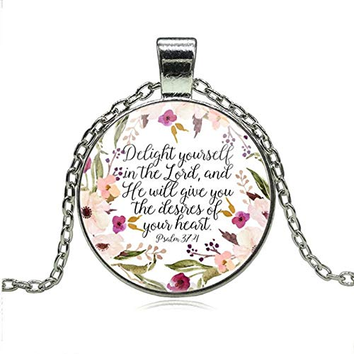Christian Jewelry Delight Yourself in The Lord Necklace Psalm 37:4 Bible Verse Charm Necklaces Faith Inspirational Gifts