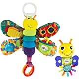 LAMAZE - Freddie The Firefly Gift Set, Play with Sound and Touch with Bright Colors, Interesting Textures, a Self-Discovery Mirror and a Teether, Clips to Carriers and Strollers, 0 Months and Older
