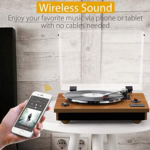 Rcm Wireless 3-Speed Turntable with Stereo Speakers Natural Wood Vinyl Record Player, Belt-Drive, Vinyl to MP3 Recording, RCA Output, USB MC-262 Brown